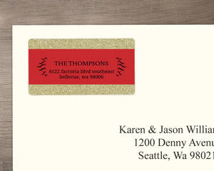 Fancy Red Black Glitter Address Label