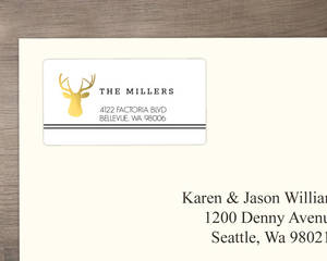 Black And Gold Deer Address Label