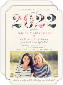 Vintage Floral Year Joint Twin Sisters Graduation Invitation