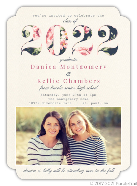 vintage floral year joint twin sisters graduation invitation joint