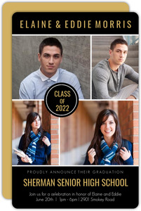 Black Multi Photo Joint Sibling Graduaton Invitation