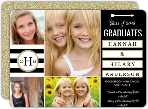 Sophisticated Glitter Joint Twins Graduation Announcement