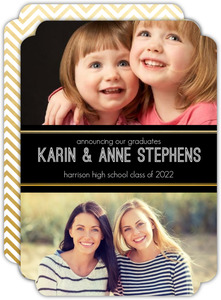 Faux Foil Gold Chevron Joint Sister Graduation Announcement