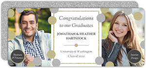 Fancy Faux Glitter Monogram Joint Graduation Invitation