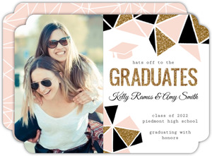 Standout Geometric Glitter Joint Graduation Announcement