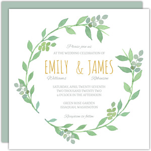 Watercolor Botanical Wreath Wedding Invitation