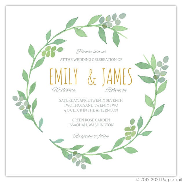 photo regarding Wreath Printable called Watercolor Botanical Wreath Printable Wedding day Invitation