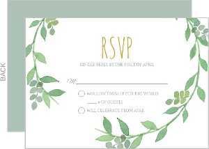 Watercolor Botanical Wreath Wedding Response Card