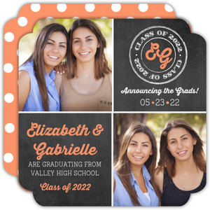Chalkboard Grid Joint Twin Sisters Graduation Announcement