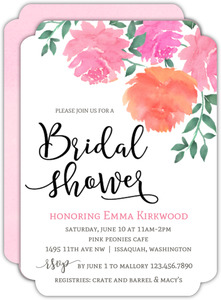 Pink Watercolor Peonies Bridal Shower Invitation