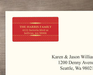 Formal Red Gold Address Label