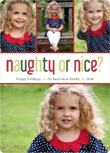 Festive Red And Green Naughty Nice Card Magnet