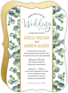 Greenery Watercolor Foliage Wedding Invitation