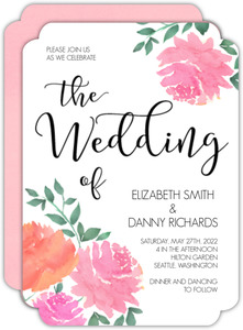 Pink Watercolor Peonies Wedding Invitation