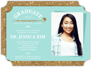 Teal  Faux Gold Glitter Dental Graduation Invitation