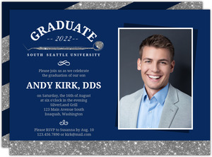 Blue  Faux Silver Glitter Dental Graduation Invitation