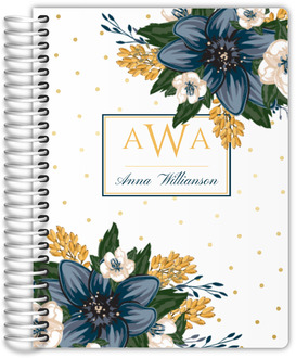 Beautiful Modern Blue and Yellow Floral Family Planner