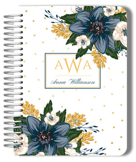 Beautiful Modern Blue and Yellow Floral Mom Planner