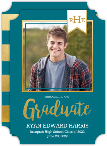 Monogram Banner Navy Graduation Announcement