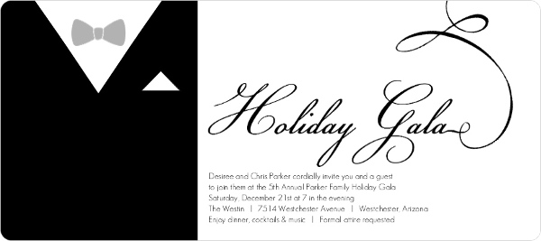 formal black suit holiday party invitation