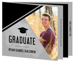 Modern Gray & Black Graduation Booklet Invitation