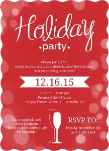 Red Bright Bubbly Bubbles Holiday Party Invitation Magnet