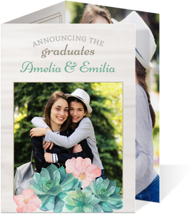 Bold Flower Bunch Graduation Invitation