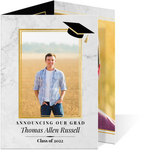 Classic Marble Trifold Graduation Announcement