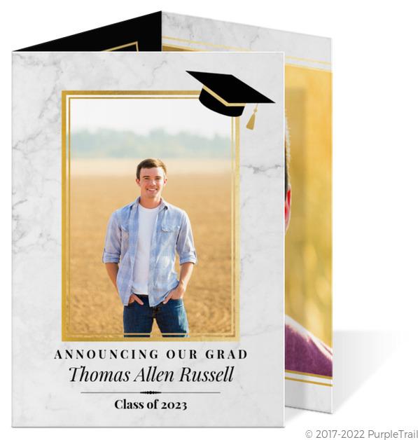 classic marble trifold graduation announcement tri fold graduation