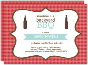 Checkered BBQ Graduation Invite