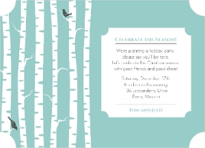 Birch Trees In Winter Holiday Party Invitation Magnet