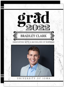 Simple White Marble Graduation Announcement