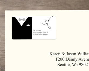 Black And White Classic Tuxedo Address Label