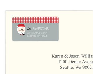 Red And Gray Hipster Santa Address Label