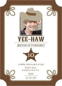 Brown Western Kids Birthday Invitations Magnet