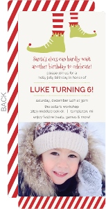 Whimsical Elf Feet Holiday Kids Birthday Invitation