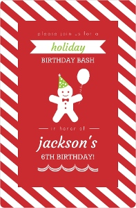 Candy Cane Striped Gingerbread Holiday Birthday Invitation
