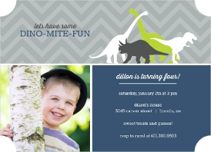 Navy And Gray Dinosaur Kids Birthday Invitation Magnet