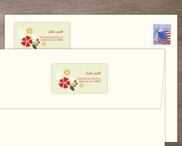 fancy bells on floral address label address labels