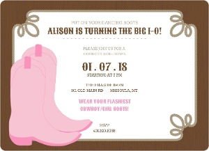 Dancing Boots Brown And Pink Birthday Party Invitation Magnet