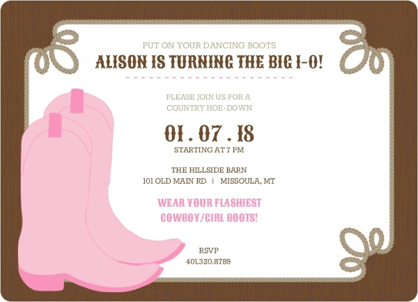 Dancing boots brown and pink birthday party invitation magnet dancing boots brown and pink birthday party invitation filmwisefo