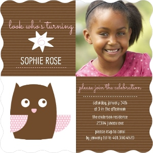 Brown And Pink Owl Kids Birthday Invitation Magnet