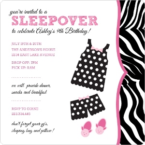 Polka Dot Pajamas Slumber Party Invitation Magnet