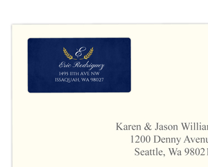 Classic Navy and Gold Foil Laurel Address Label