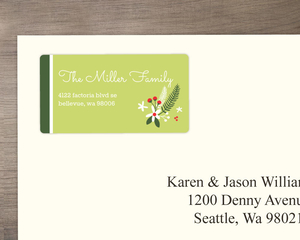 Green and Red Festive Flowers Address Label