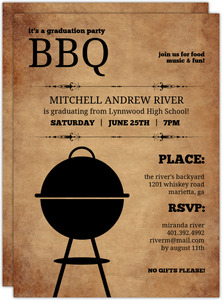 Rustic Backyard Bbq Graduation Invite