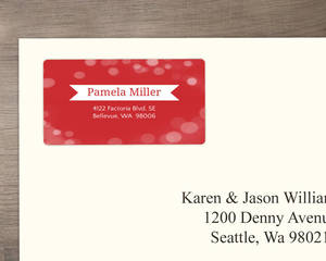 Red Bright Bubbly Bubbles Address Label