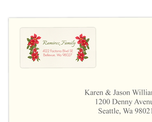 Red Retro Poinsettia Address Label