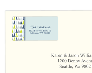 Festive Geometric Trees Address Label