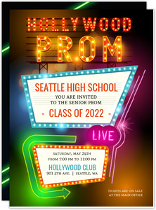 Hollywood Retro Lights Prom Invitation